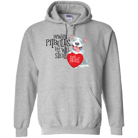 Pit bulls Steal Your Heart Pullover Hoodie 8 oz