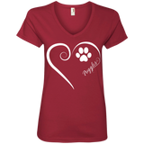 Puggle, Always in my Heart Ladies V Neck Tee