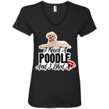 I kissed A Poodle Ladies V-Neck Tee