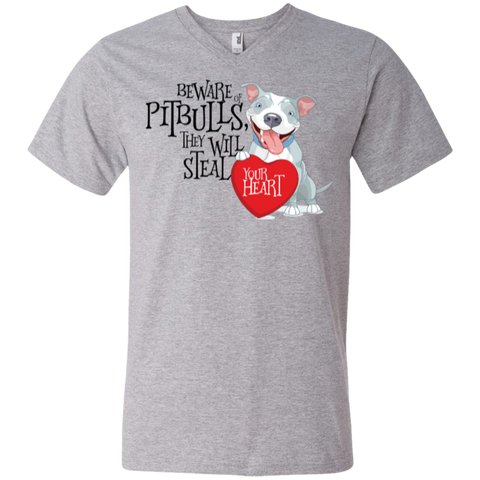 Pit bulls Steal Your Heart Men's Printed V-Neck T