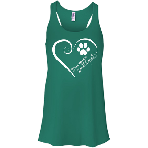 Norwegian Lundehund, Always in my Heart  Flowy Racerback Tank