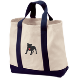 """My Heart"" English Bulldog Embroidered 2-Tone Shopping Tote"