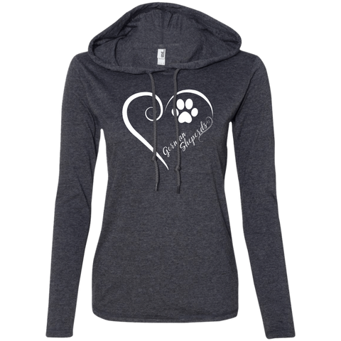 German Shepherd, Always in my Heart Ladies LS T-Shirt Hoodie