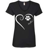 Poodle, Always in my Heart Ladies V Neck Tee
