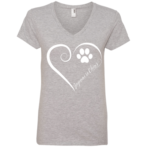 Japanese Chin, Always in my Heart  Ladies V Neck Tee