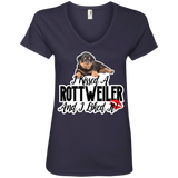 I kissed a Rottweiler Ladies V-Neck Tee
