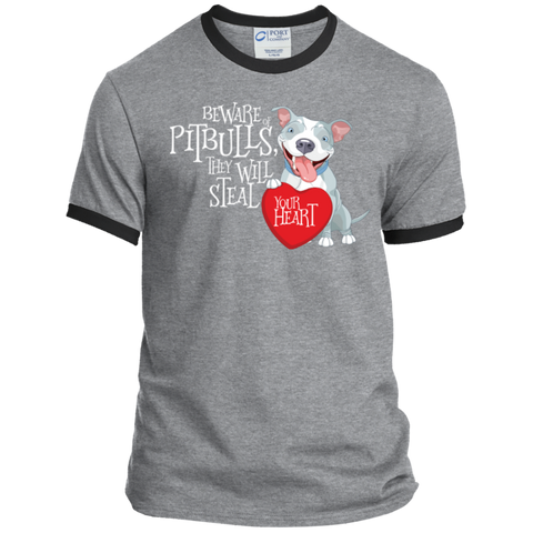 Pit bulls Steal Your Heart Ringer Tee