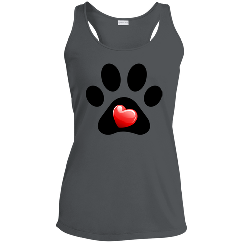 My Heart Paw Print LST356 Sport-Tek Ladies Racerback Moisture Wicking Tank