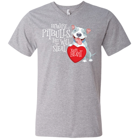 Pit bulls Steal Your Heart Men's V-Neck T