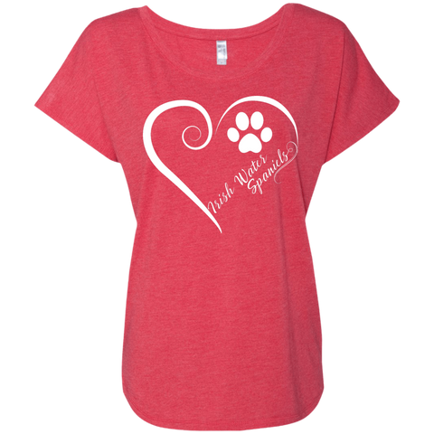 Irish Water Spaniel, Always in my Heart  Ladies Triblend Dolman Sleeve