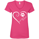 Irish Water Spaniel, Always in my Heart Ladies V Neck Tee
