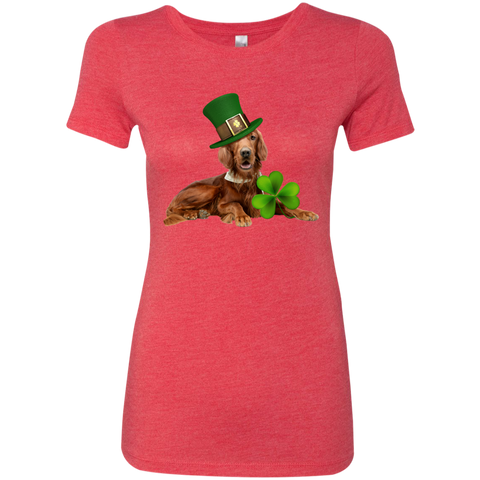 St Patricks Day English Setter Fitted Next Level Ladies Triblend T-Shirt