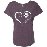 Irish Red and White Setter, Always in my Heart Ladies Triblend Dolman Sleeve
