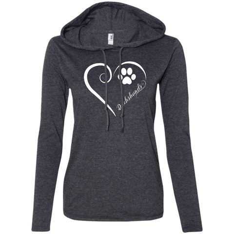 Dachshund, Always in my Heart Ladies LS T-Shirt Hoodie