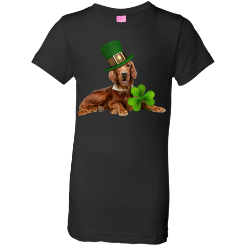 St Patricks Day English Setter Girls Jersey T-Shirt