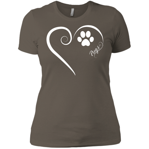 Pug, Always in my Heart Ladies' Boyfriend Tee