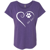 Shih-Tzus, Always in my Heart Ladies Triblend Dolman Sleeve