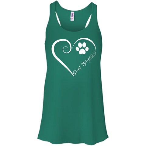 Great Pyrenees, Always in my Heart Flowy Racerback Tank
