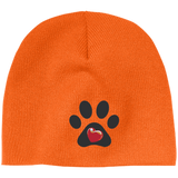 My Heart Paw Print Embroidered Beanie