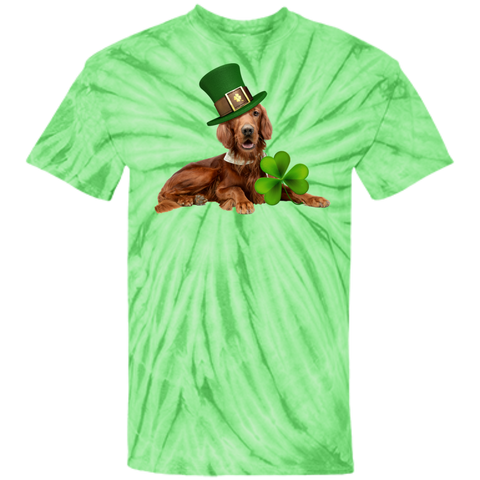 St Patricks Day English Setter Adult Unisex 100% Cotton Tie Dye T-Shirt