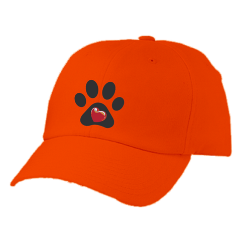 "Embroidered ""My Heart"" Paw Print Twill Cap"