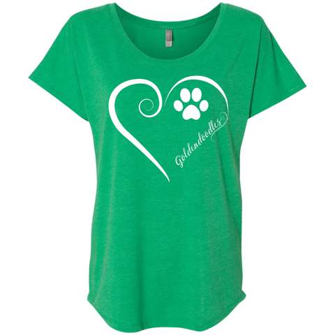 Goldendoodle, Always in my Heart Ladies Triblend Dolman Sleeve