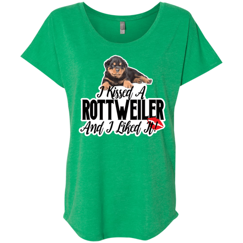 I kissed a Rottweiler Triblend Dolman Sleeve