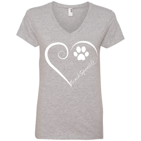 French Spaniel, Always in my Heart Ladies V Neck Tee