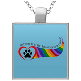 Paw in Heart Rainbow Right No Longer By My Side UN4684 Square Necklace