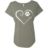 French Bulldog, Always in my Heart Ladies Triblend Dolman Sleeve