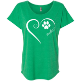 Poodle, Always in my Heart Ladies Triblend Dolman Sleeve