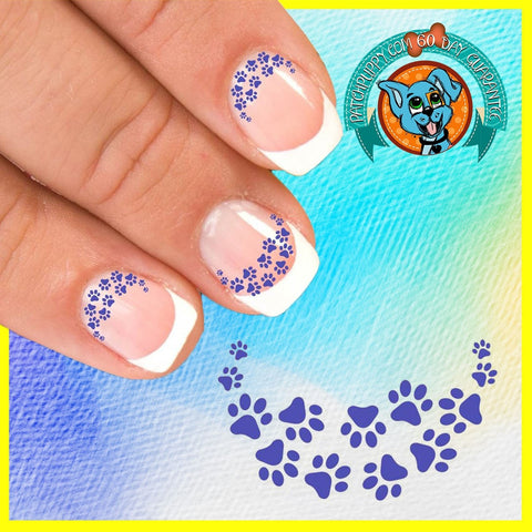 Edgy Paw Prints Blue - Nail Art Decals (Now! 50% more FREE)