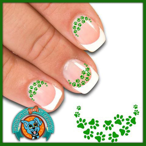 Edgy Paw Prints Green - Nail Art Decals (Now! 50% more FREE)