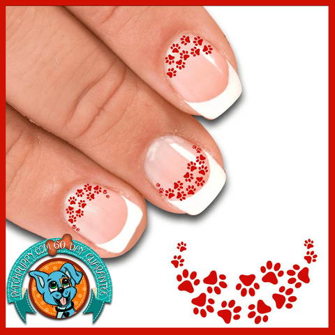 Edgy Paw Prints Rusty Red - Nail Art Decals (Now! 50% more FREE)