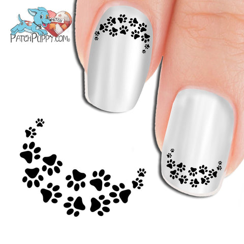 Edgy Paw Prints Black - Nail Art Decals (Now! 50% more FREE)