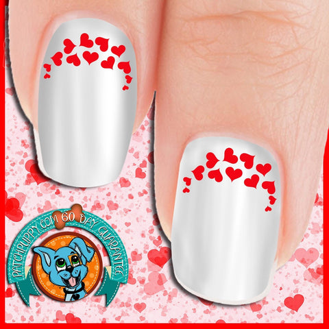 Edgy Red Heart Nail Art Decals (Now! 50% more FREE)