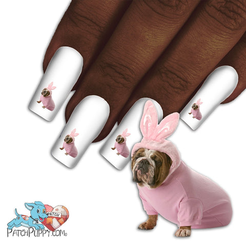 English Bulldog Woof I'm an English bunny Nail Art Decals (NOW 50% MORE FREE)