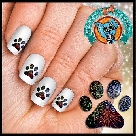 Fireworks in Paw print Nail Art Decals (Now! 50% more FREE)