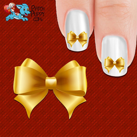 Gold Bow Nail Art Decals (Now! 50% more FREE)