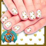 Gold Hearts Valentines Nail Wraps