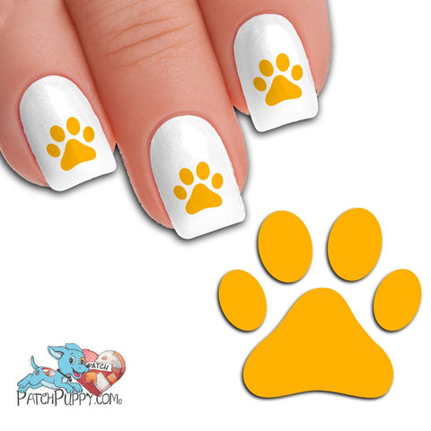 Gold Team Spirit Paw Print - Nail Art Decals (Now! 50% more FREE)