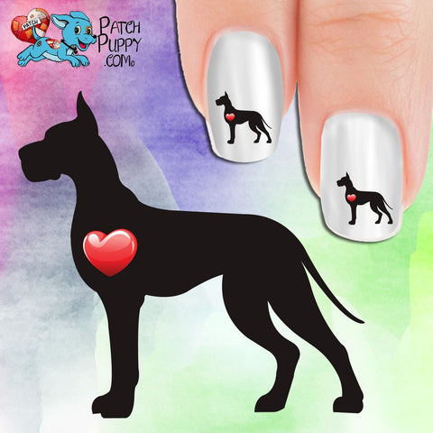 Great Dane My Heart Silhouette Nail Art Decals (Now! 50% more FREE)