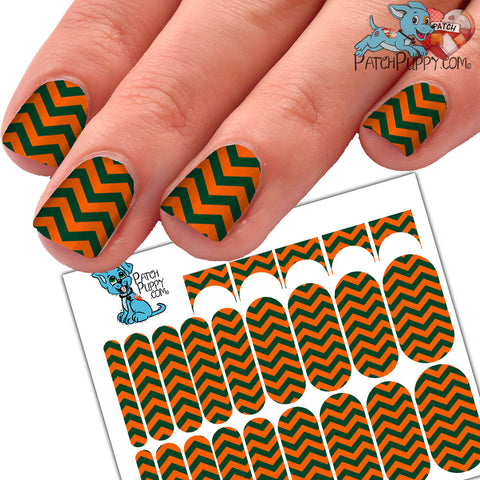 Green and Orange Chevron Team Spirit Nail Wraps