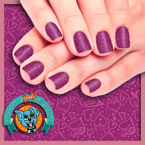 Hearts on Purple background Nail Wraps