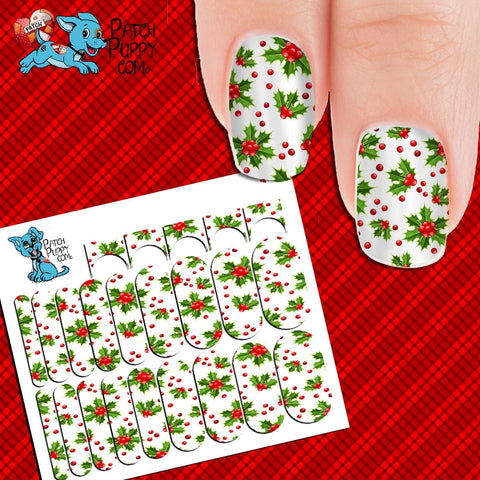 Holly and Berries Nail Wraps