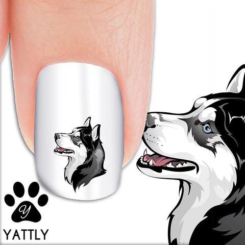 Husky Looking Up - Nail Art Decals (Now! 50% more FREE)