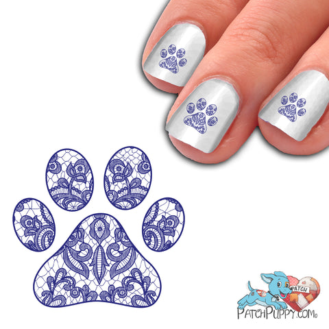 Lace Blue Pawprint Nail Art Decals (Now! 50% more FREE)