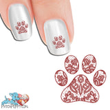 Lace Red Pawprint Nail Art Decals (Now! 50% more FREE)