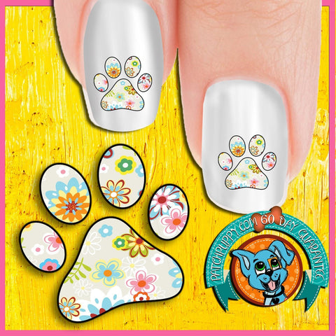 Light Flowers Pawprint Nail Art Decals (Now! 50% more FREE)