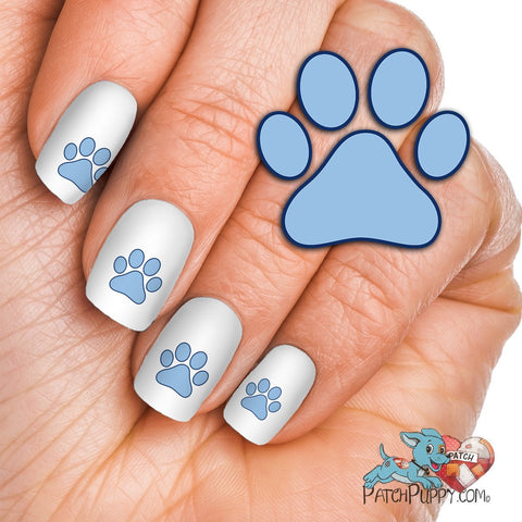 Light Blue and Navy Paw Print Team Spirit Nail Art Decals (Now! 50% more FREE)